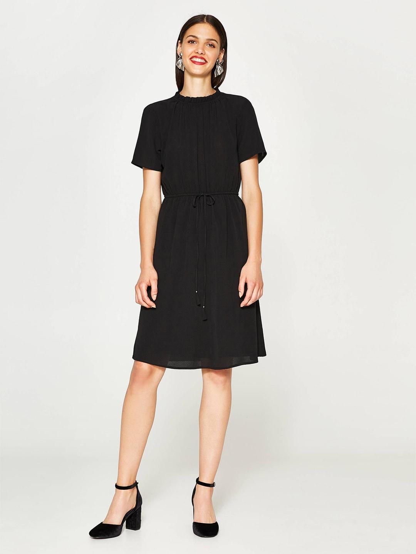 OVS Women Black Solid Fit & Flare Dress image