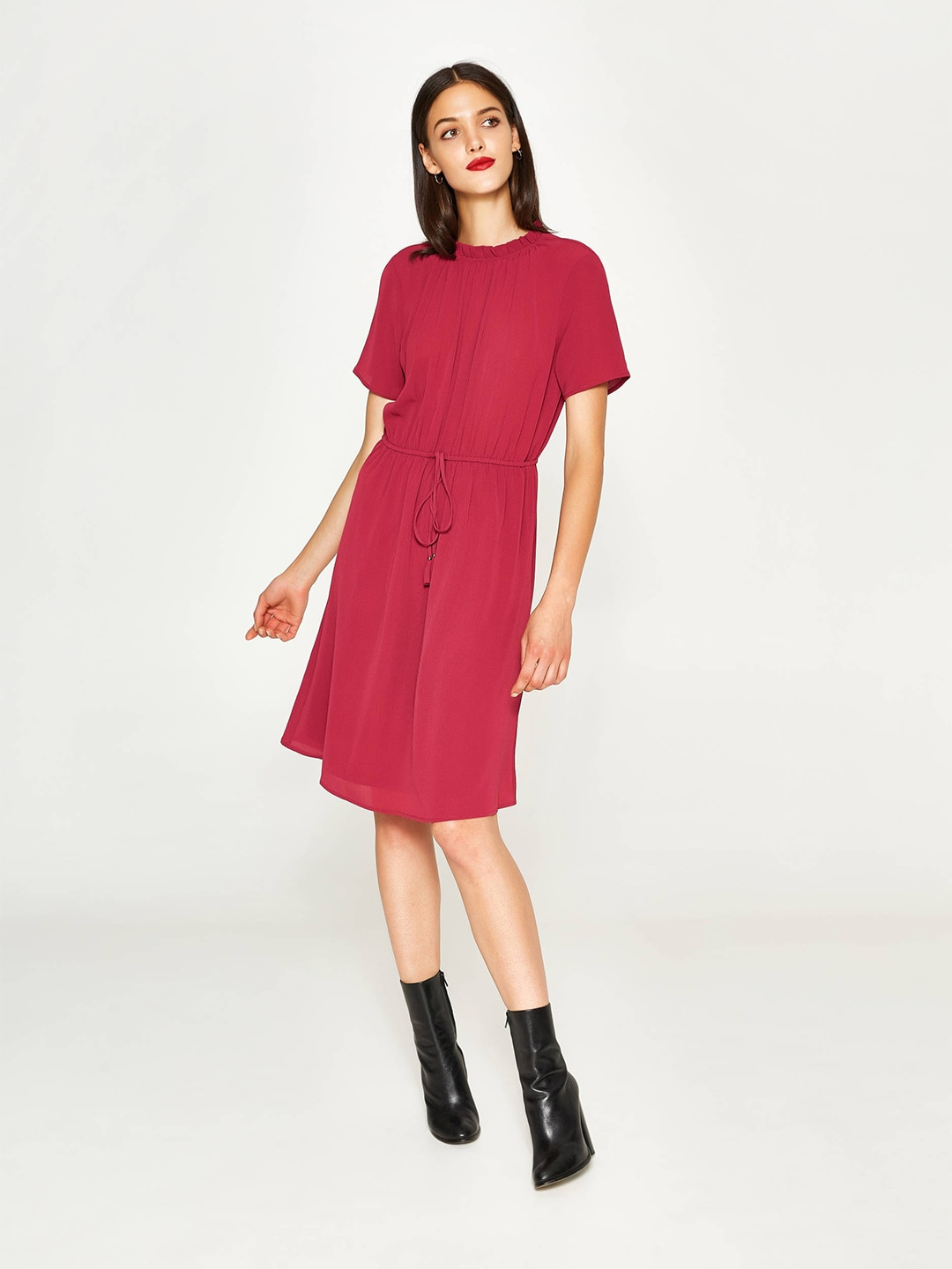 OVS Women Pink Solid Fit and Flare Dress image
