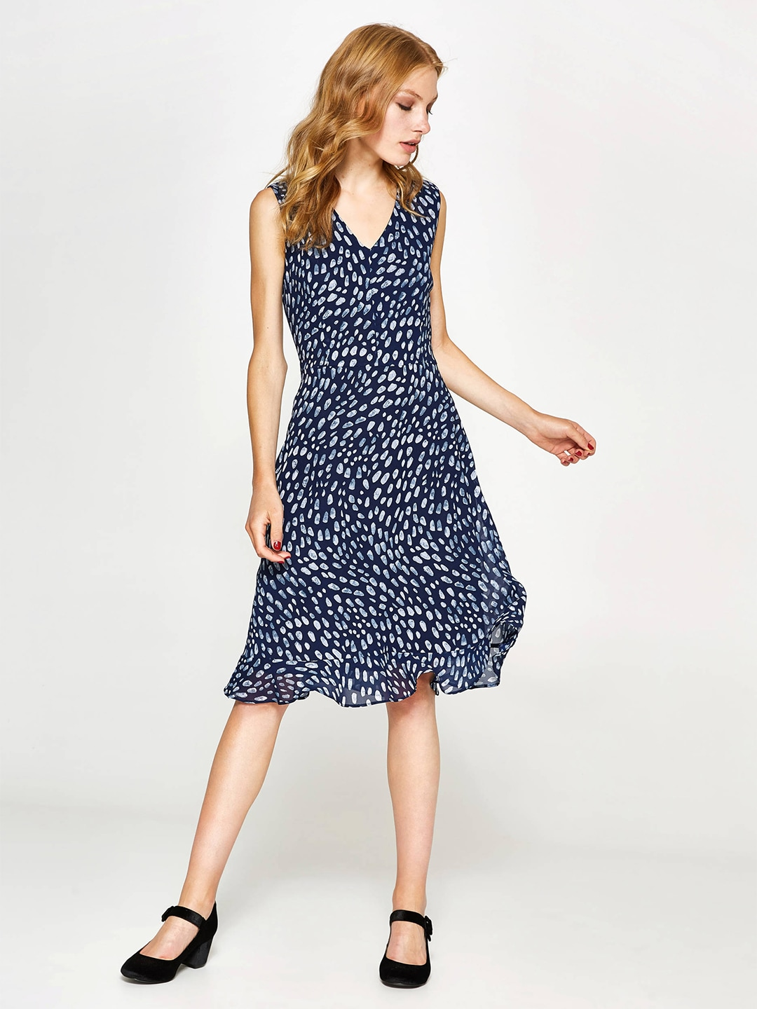 OVS Women Navy Blue Printed Fit & Flare Dress image