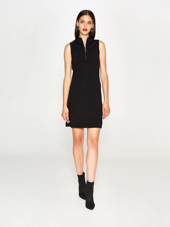 OVS Women Black Zipper Neck Knit Sheath Dress image