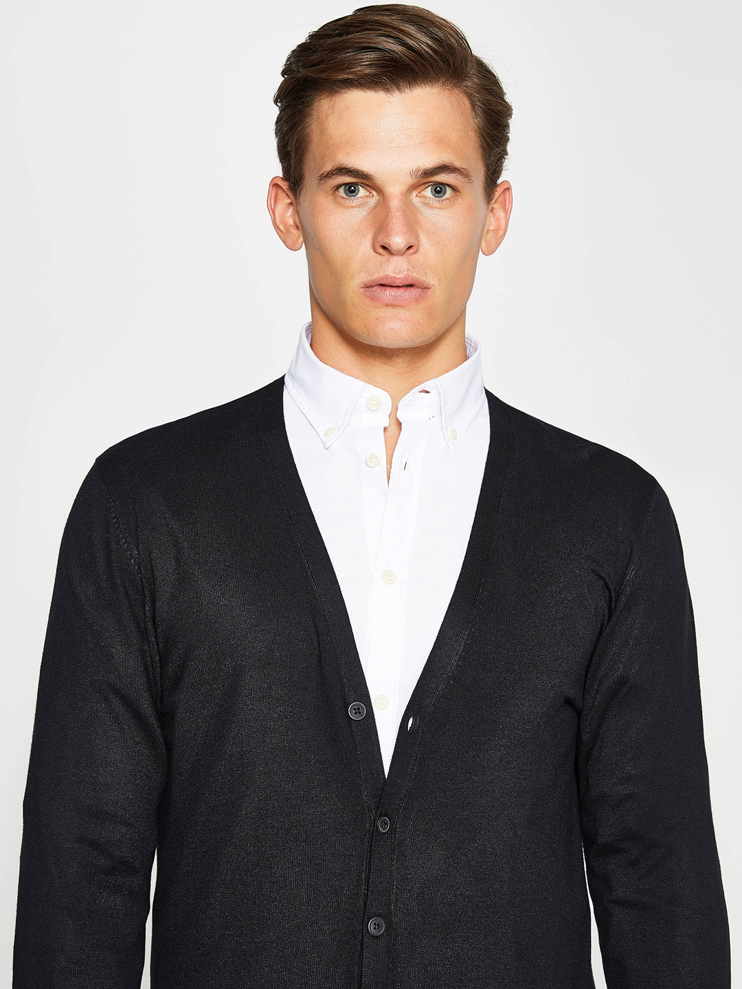 OVS Men Black Solid Cardigan image