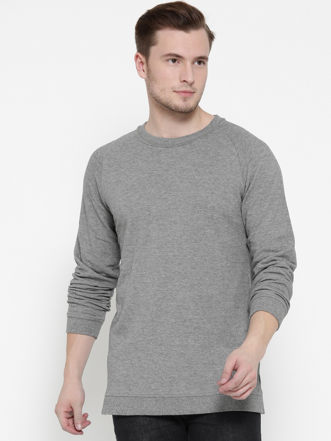 OVS Men Grey Melange Solid Sweatshirt image