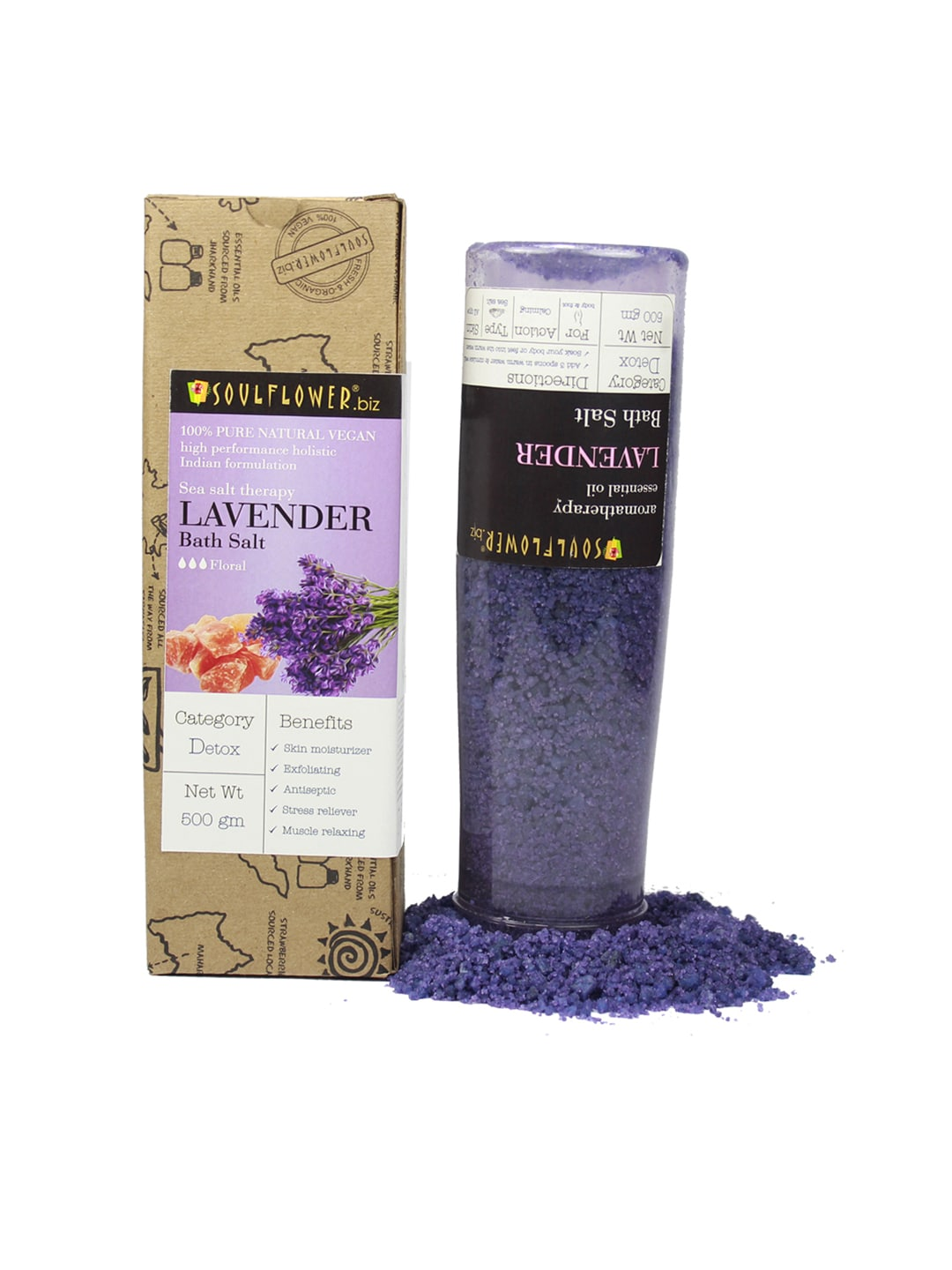 Soulflower Unisex Pack of 2 Lavender Bath Salt image