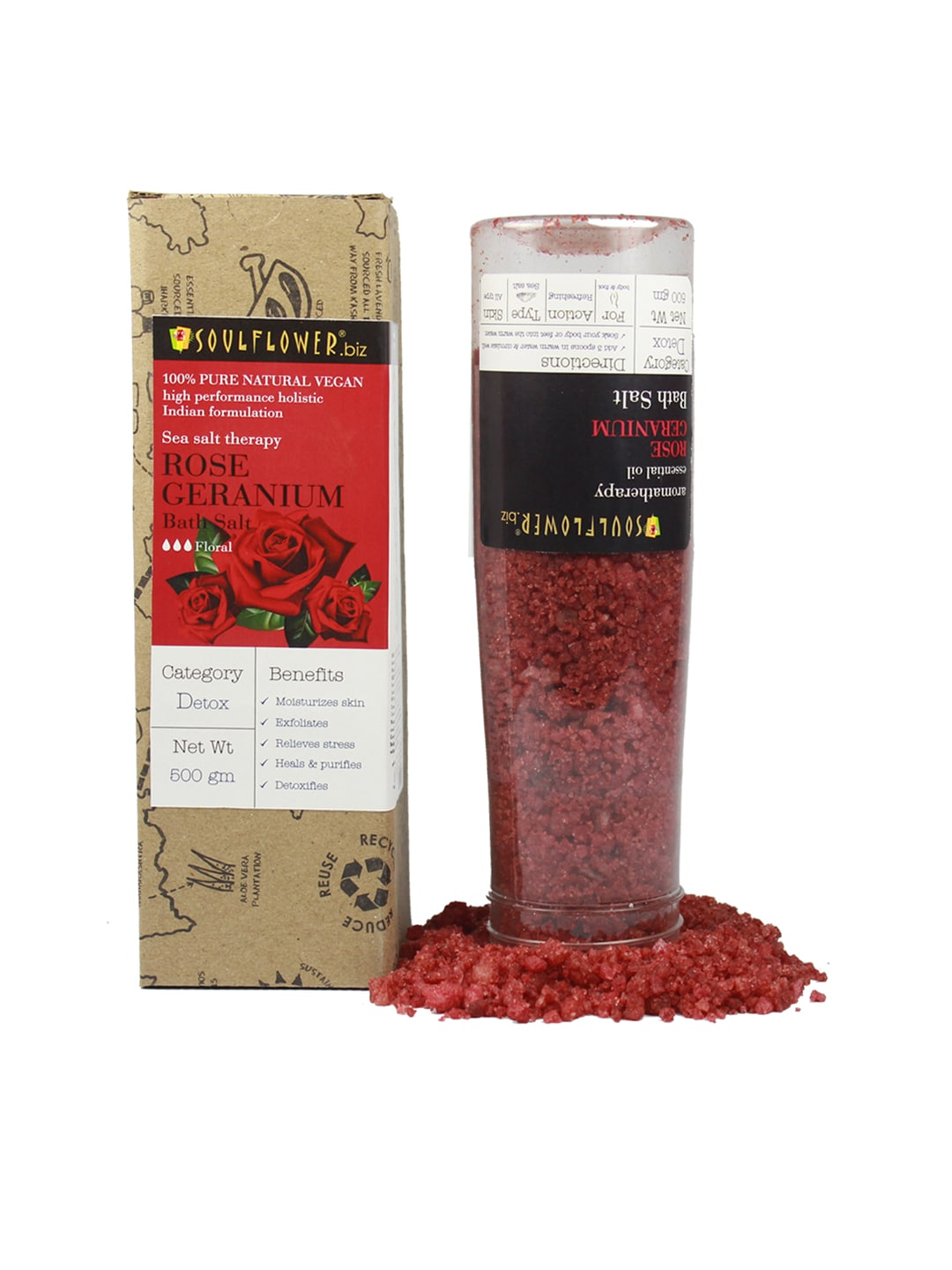 Soulflower Unisex Pack of 2 Rose Geranium Bath Salt image