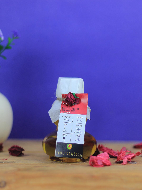 Soulflower Unisex Rose Geranium Aroma Massage Oil image