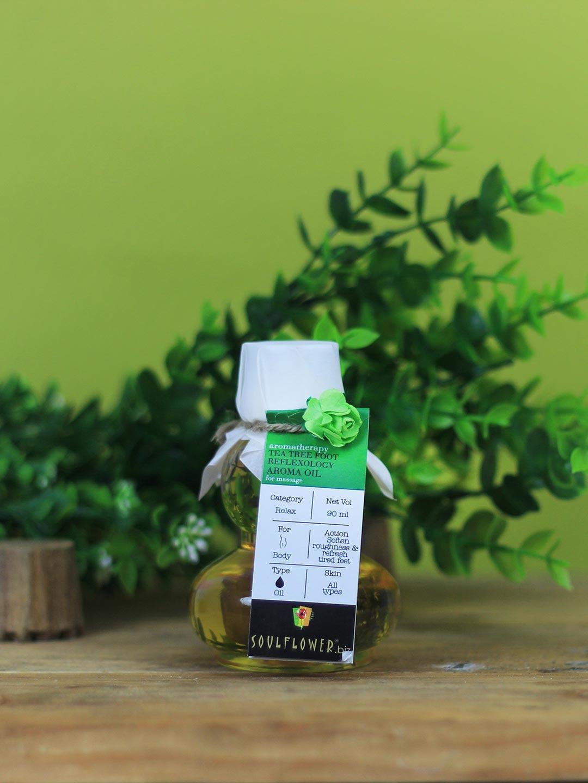 Soulflower Unisex Pack of 2 Tea Tree Foot Reflexology Aroma Massage Oil image