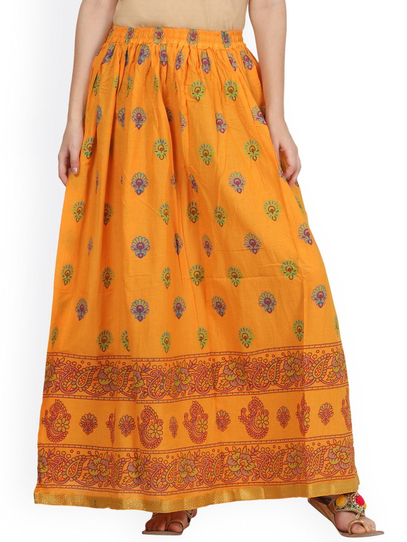 Saadgi Yellow Printed Flared Maxi Skirt image