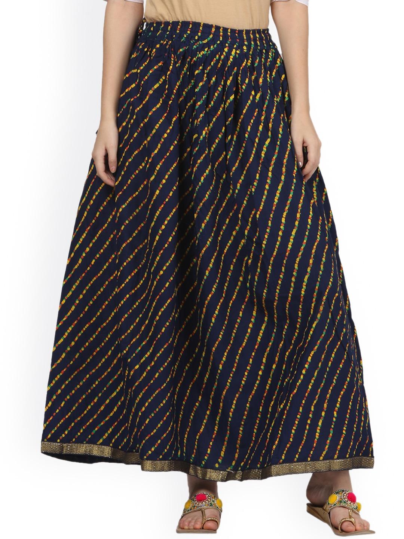 Saadgi Brown Printed Flared Maxi Skirt image