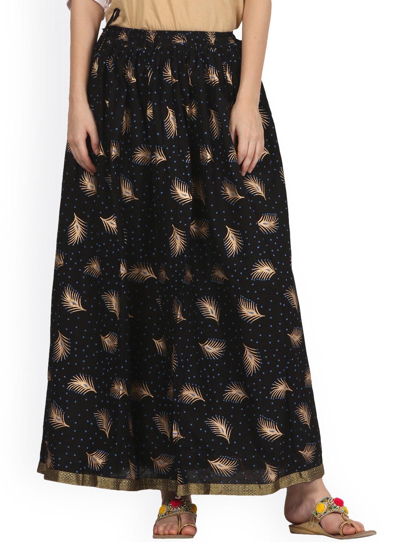Saadgi Black Printed Flared Maxi Skirt image