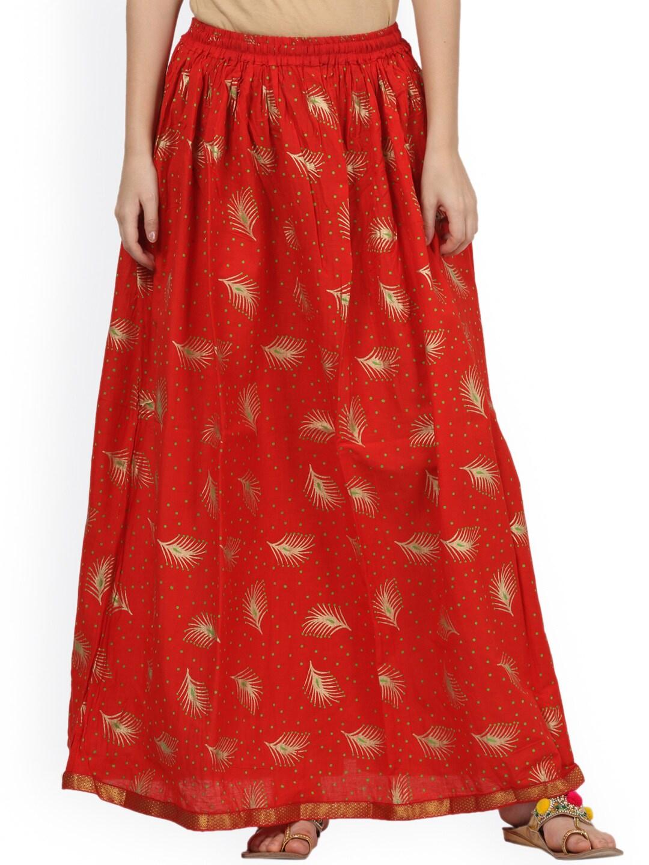 Saadgi Orange Printed Flared Maxi Skirt image
