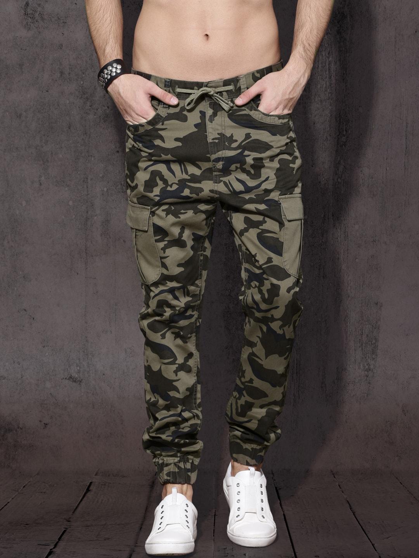 Roadster Men Olive Green Slim Fit Printed Joggers