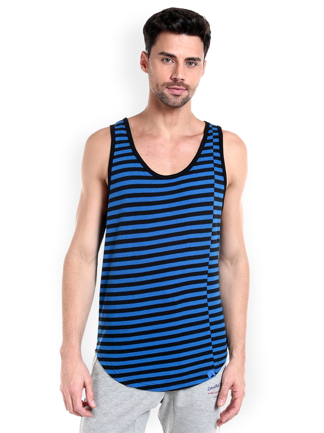 Masculino Latino Men Blue & Black Striped T-shirt MLF4030-A image