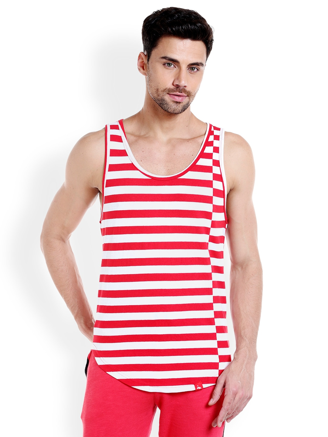 Masculino Latino Men Red & White Striped T-shirt MLF4030-B image