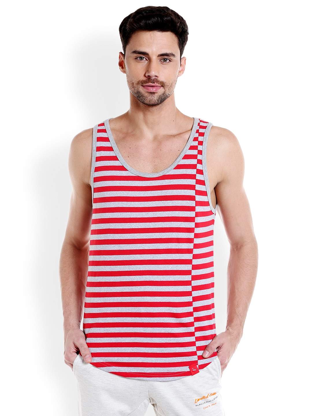 Masculino Latino Men Red & Grey Striped T-shirt MLF4030-C image