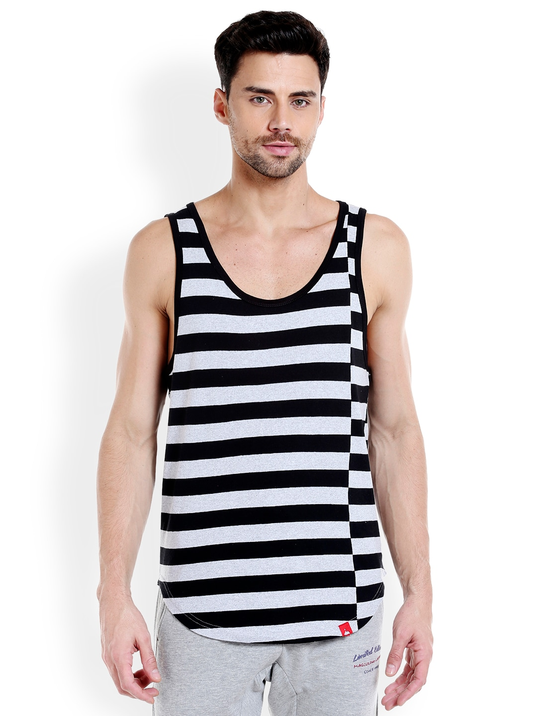 Masculino Latino Men Black & Grey Striped T-shirt MLF4030-D image
