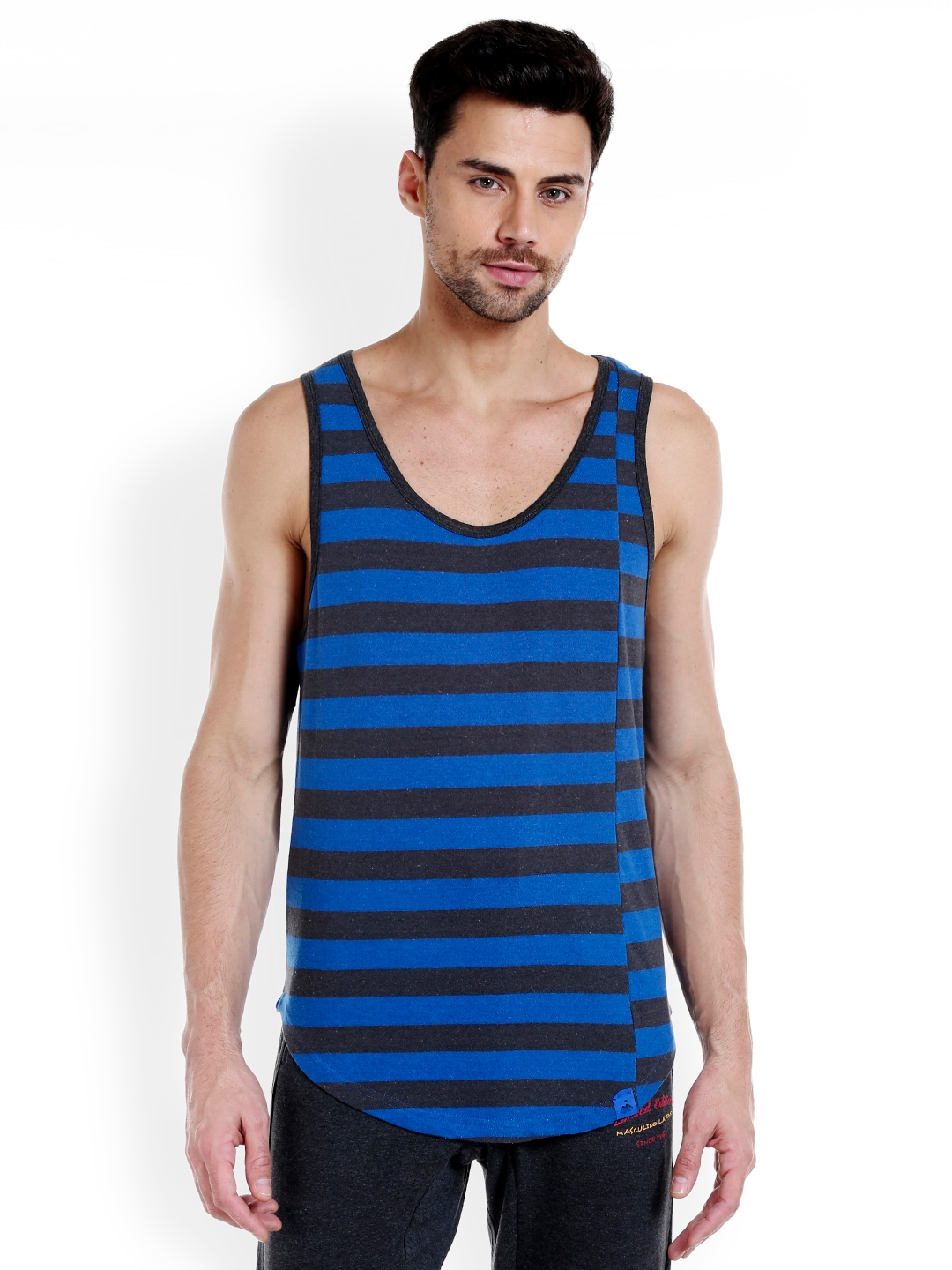 Masculino Latino Men Blue & Black Striped T-shirt MLF4030-E image
