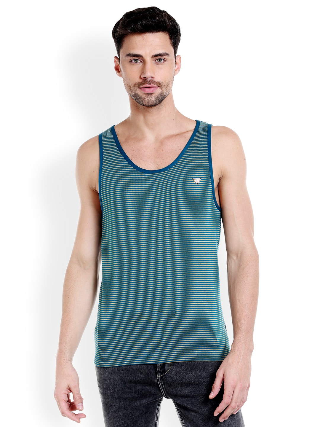 Masculino Latino Men Green & Navy-Blue Striped T-shirt MLF4036-A image