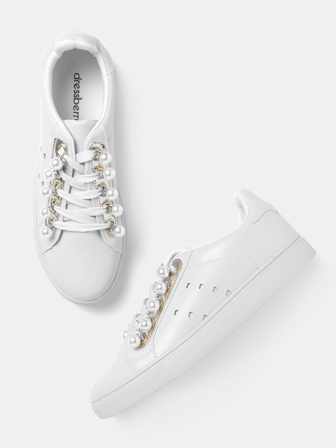 DressBerry Women White Embellished Sneakers image