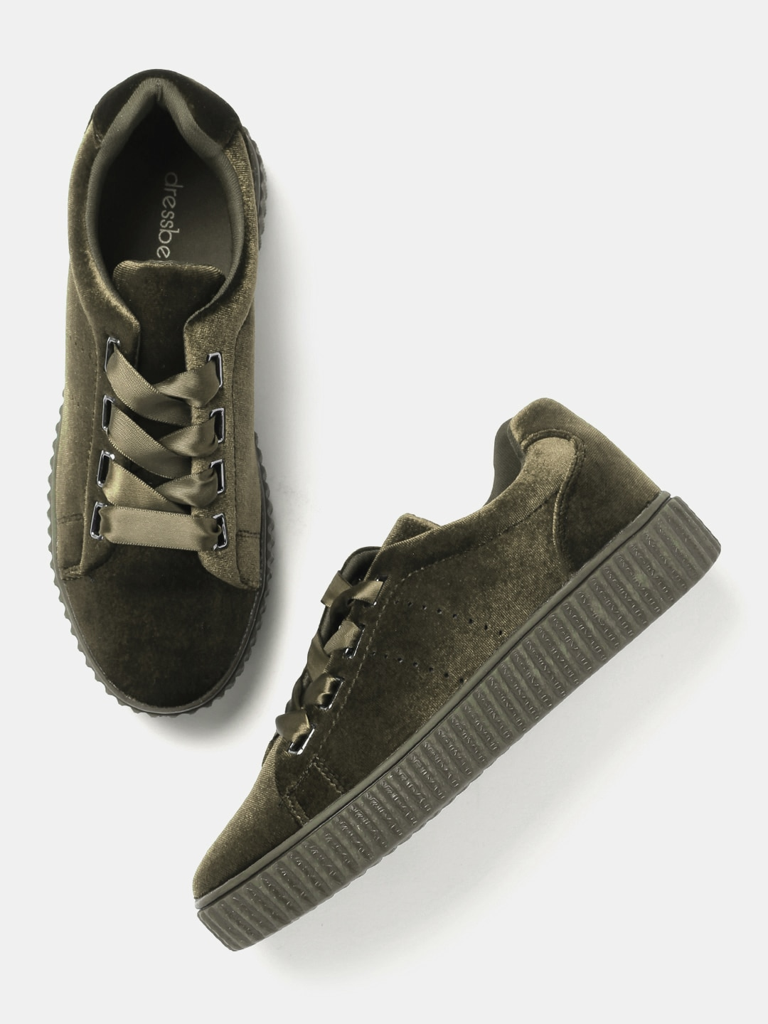 DressBerry Women Olive Green Sneakers image