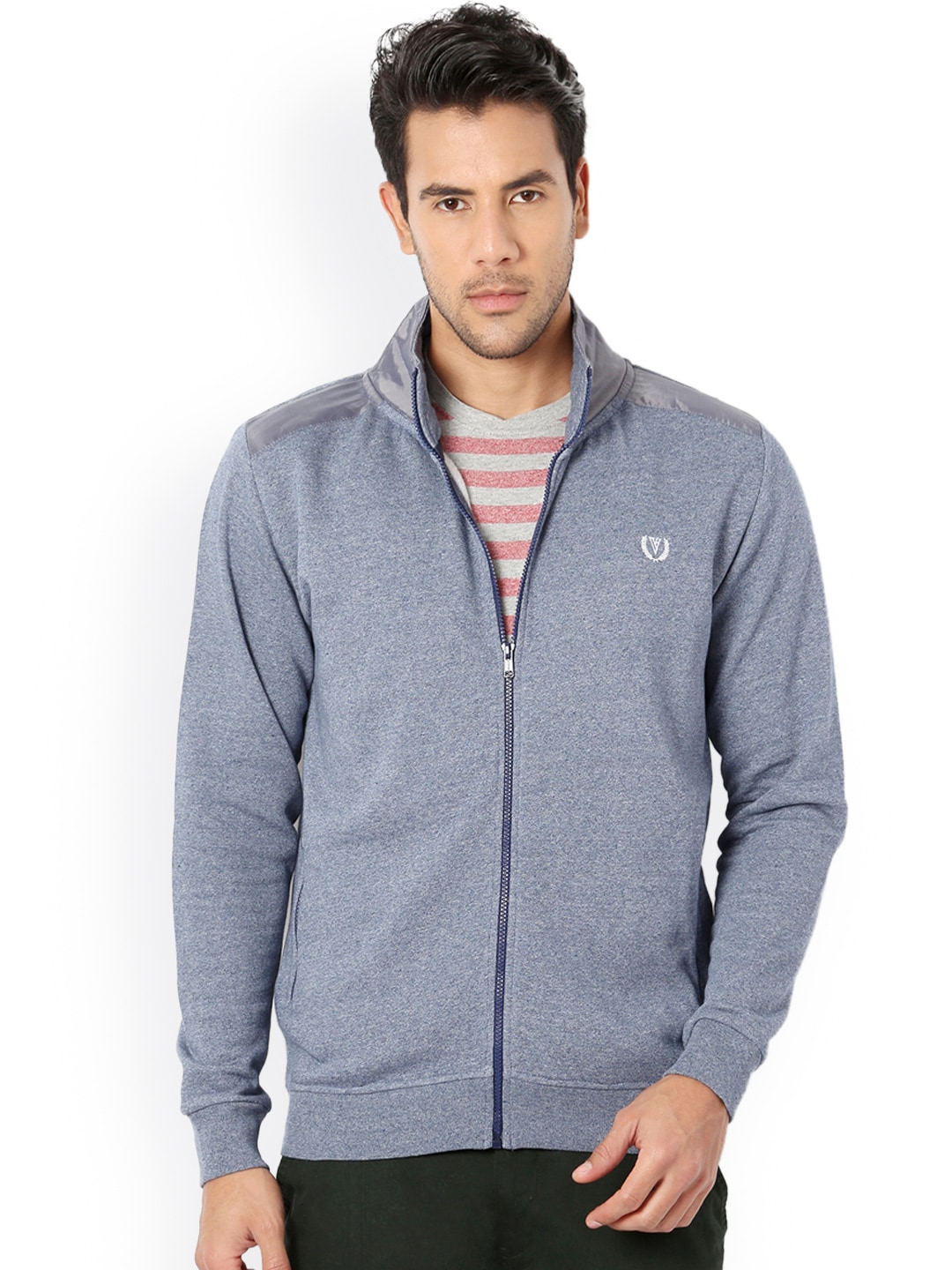 Van Heusen Sport Men Blue Solid Sweatshirt image
