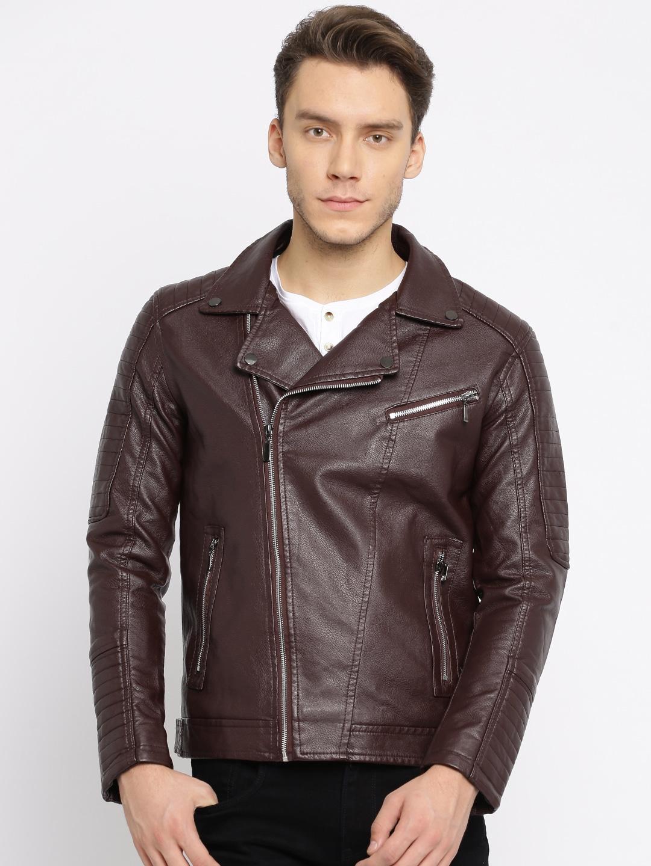 The Indian Garage Co Men Burgundy Slim Fit Solid Biker Jacket image