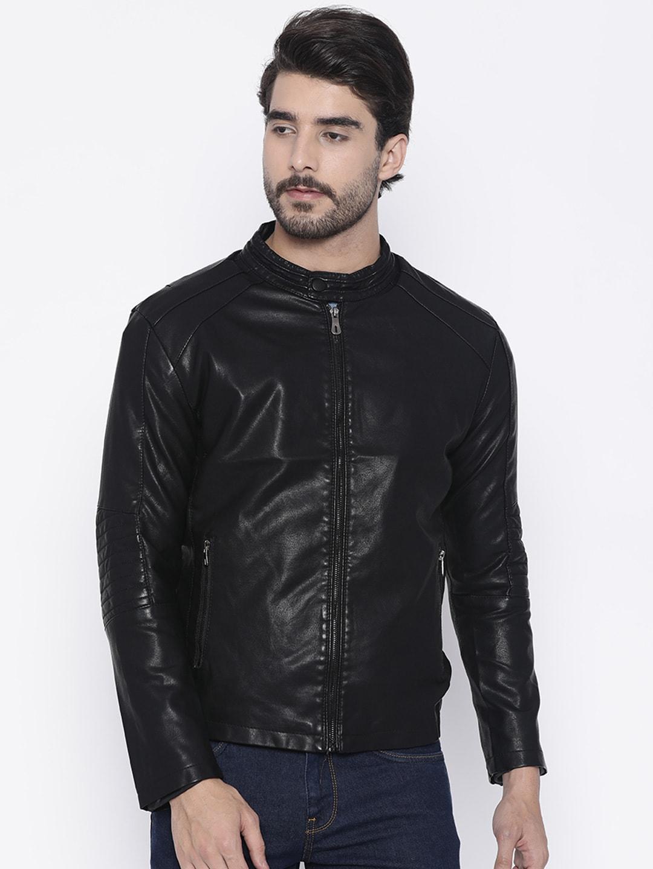 The Indian Garage Co Men Black Solid Biker Jacket image