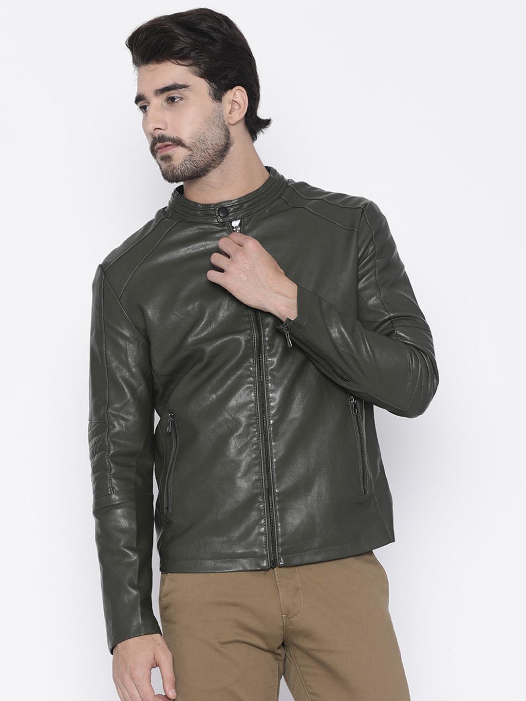 The Indian Garage Co Men Green Slim Fit Solid Biker Jacket image