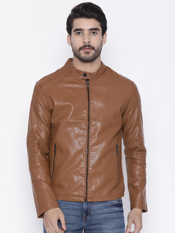 The Indian Garage Co Men Brown Slim Fit Solid Biker Jacket image