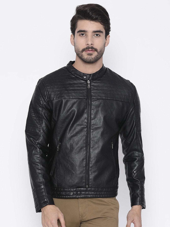 The Indian Garage Co Men Black Slim Fit Solid Biker Jacket image