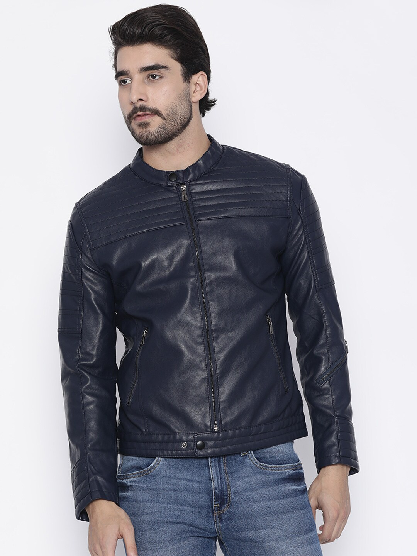 The Indian Garage Co Men Navy Blue Slim Fit Solid Biker Jacket image
