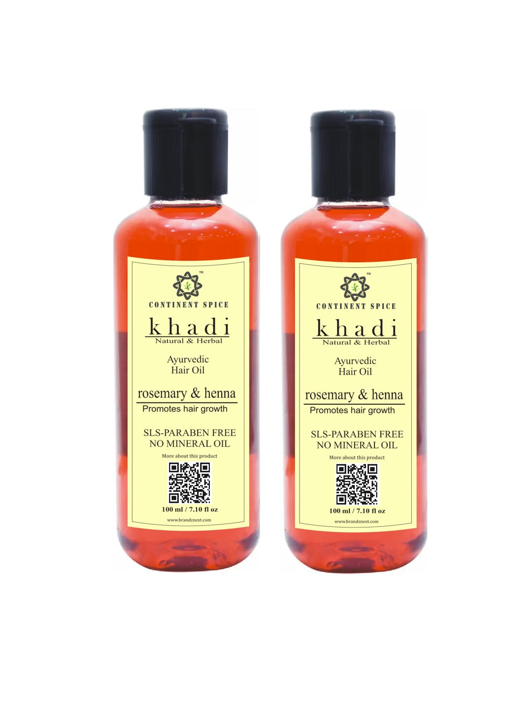 Khadi Continent Spice Set of 2 Rosemary & Henna Ayurvedic Hair Growth Oils 100 ml (each) image
