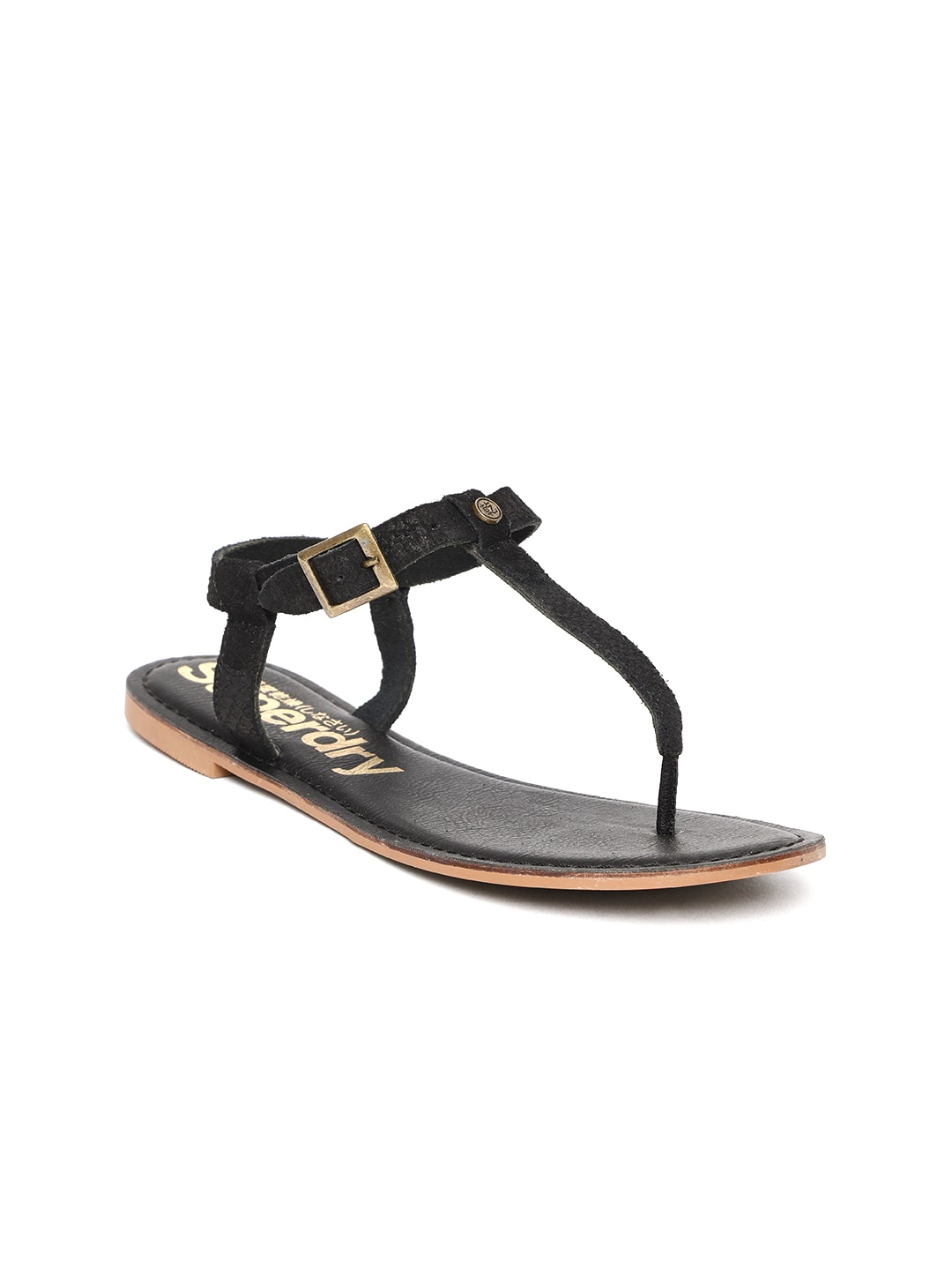 Superdry Women Black Leather T-Strap Flats image