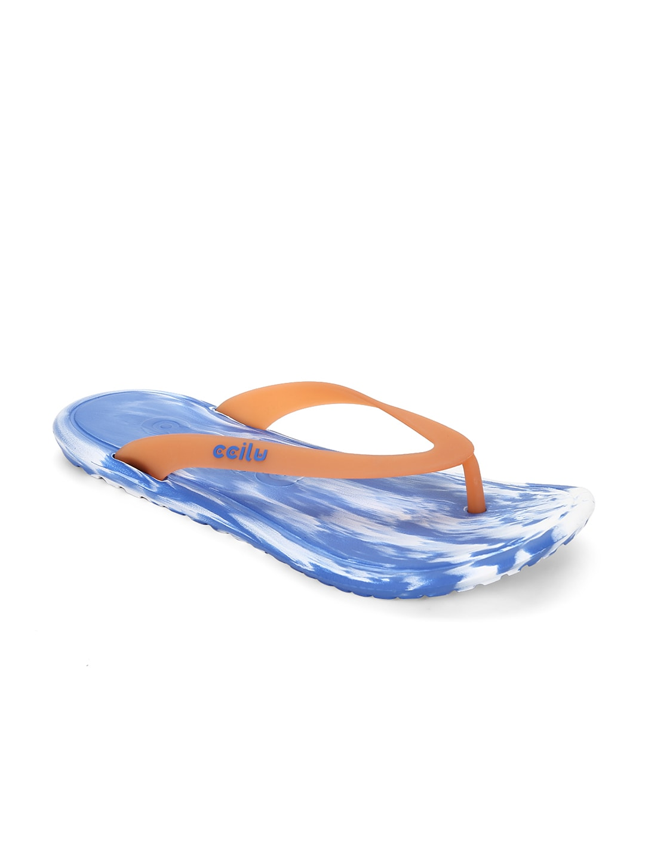 CCILU Unisex Orange & Blue Printed Flip-Flops image