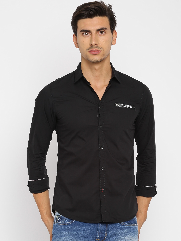 Being Human Clothing Men Black Slim Fit Self Design Casual Shirt image