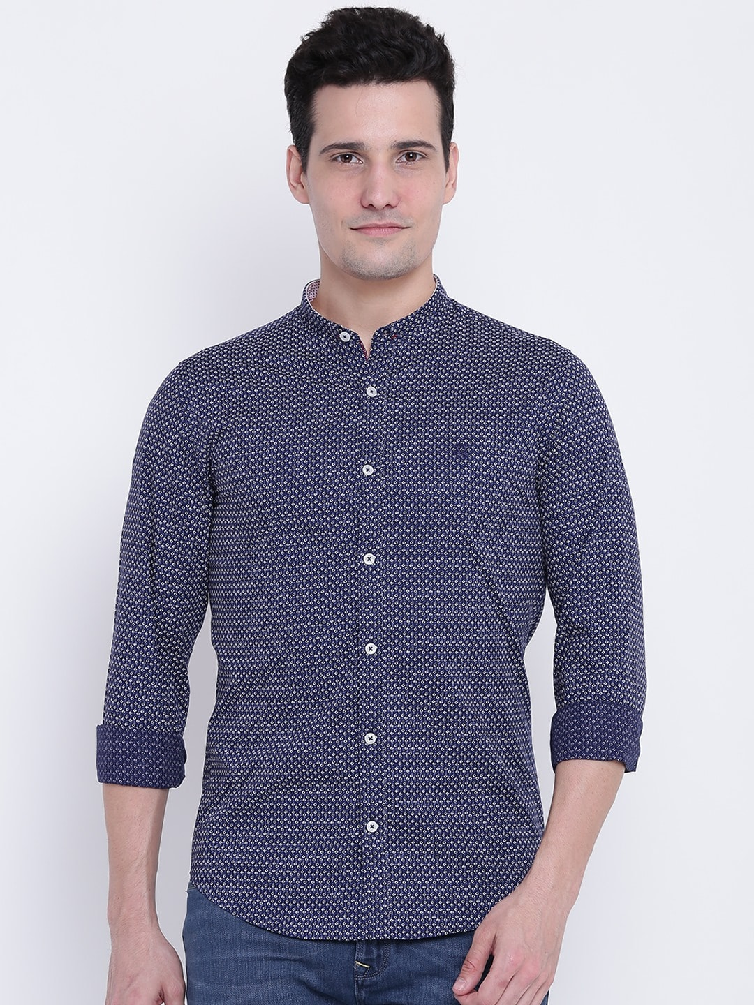United Colors of Benetton Men Navy & Off-White Slim Fit Printed Casual Shirt image