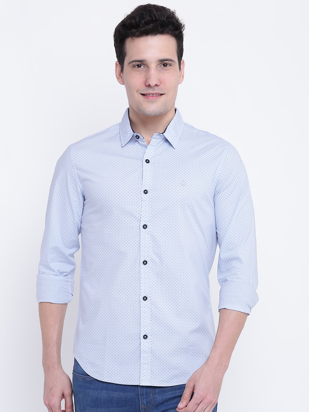 United Colors of Benetton Men Blue Slim Fit Printed Casual Shirt image