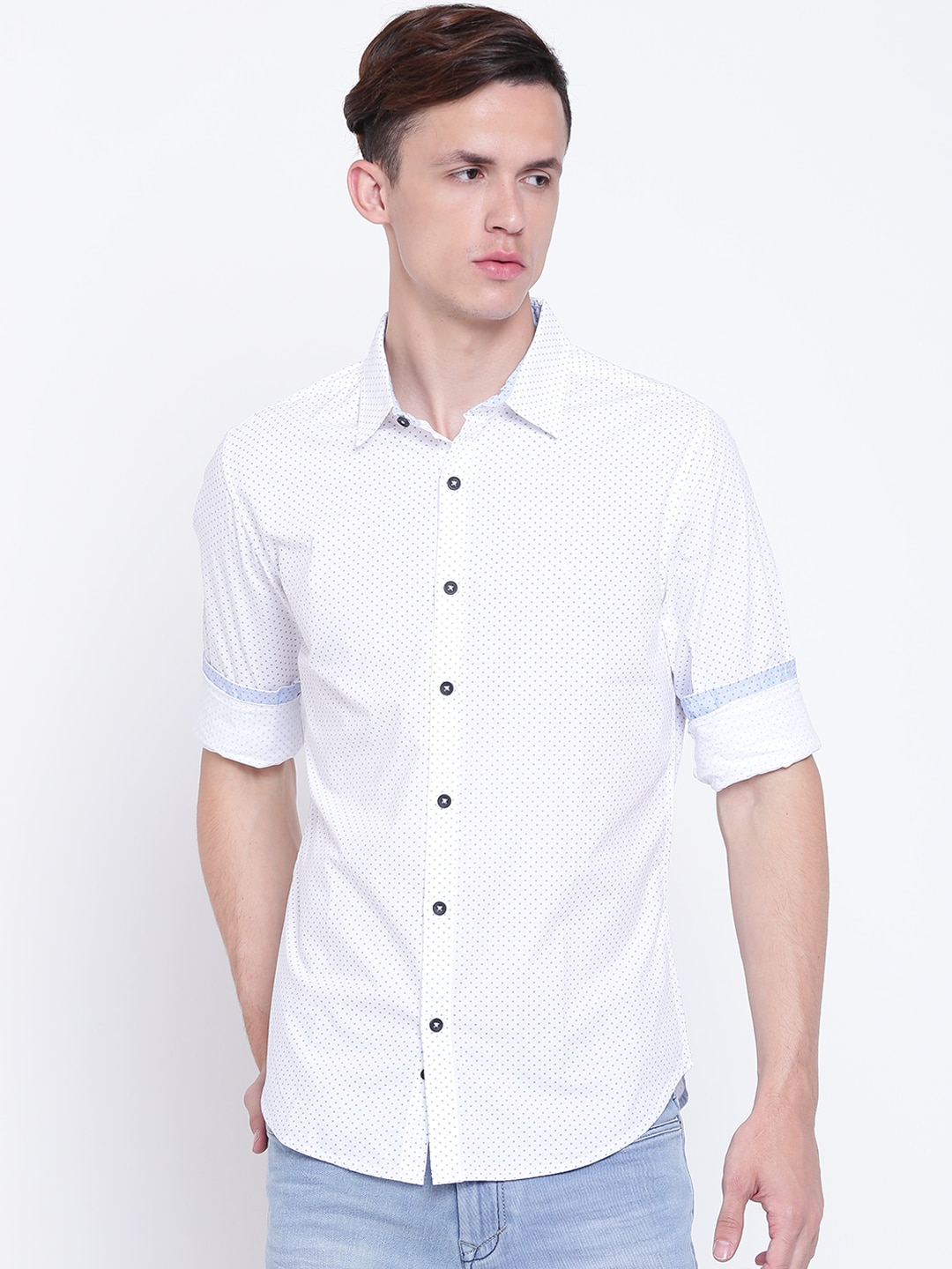 United Colors of Benetton Men White Slim Fit Printed Casual Shirt image