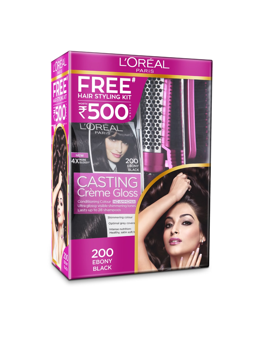 L'Oreal Paris Casting Creme Gloss 200 Ebony Black with Free Hair Styling Kit image