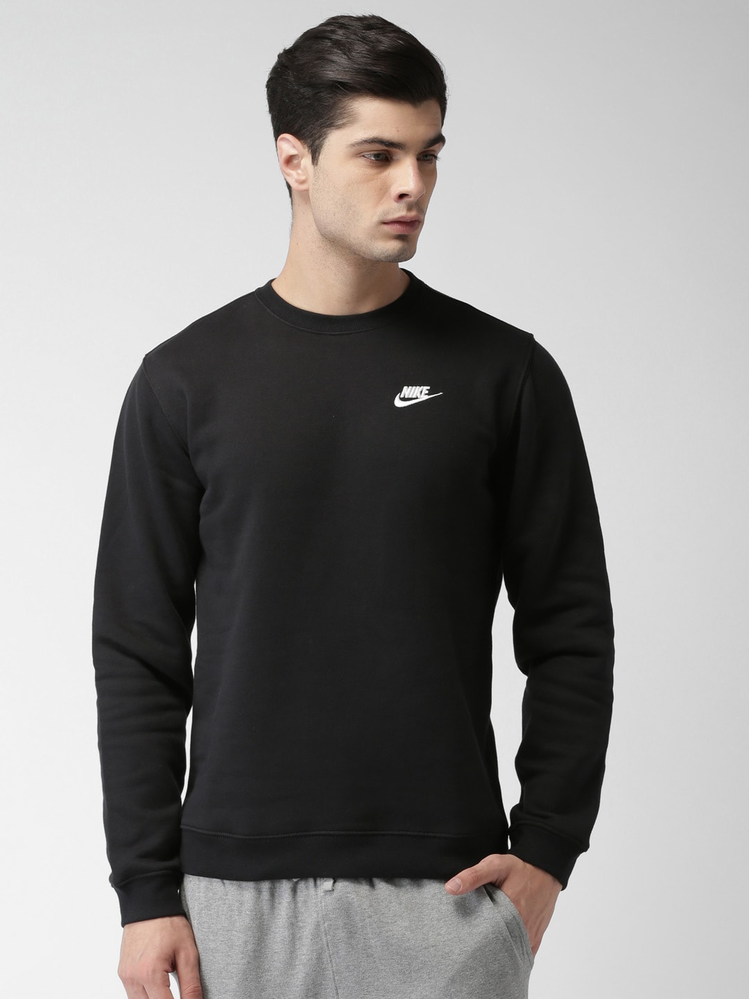 Buy Nike NSW CRW FLC CLUB Black Solid Men's Sweatshirt At Best Price