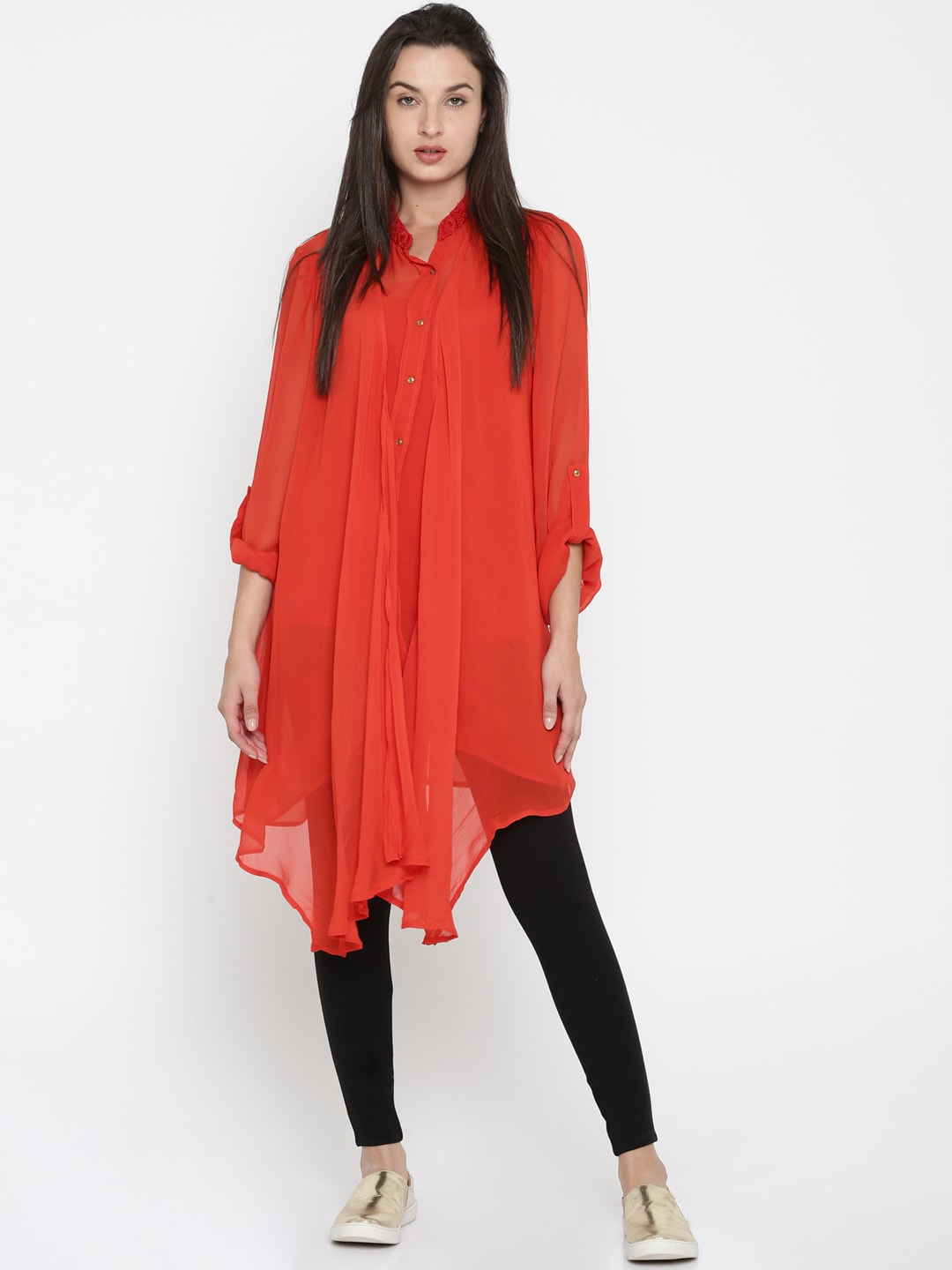 Wills Lifestyle Women Red Solid Tunic image