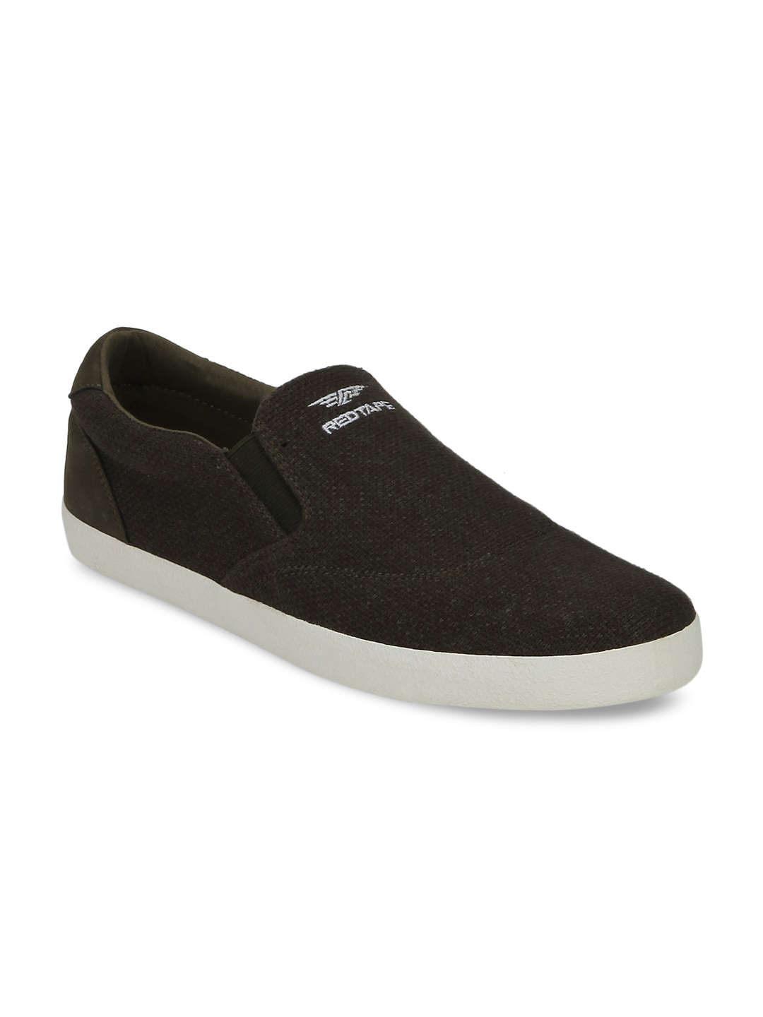 Red Tape Men Olive Slip-On Sneakers image