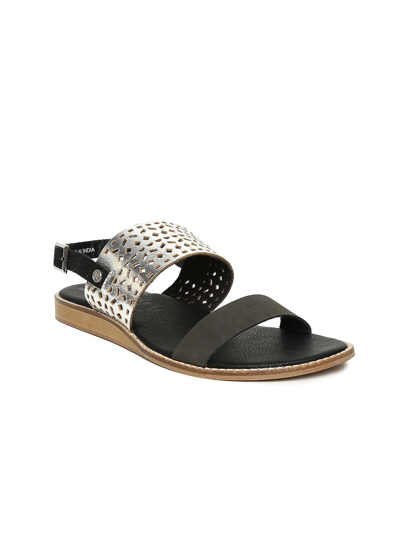 Superdry Women Black & Silver-Toned Colourblocked Flats image