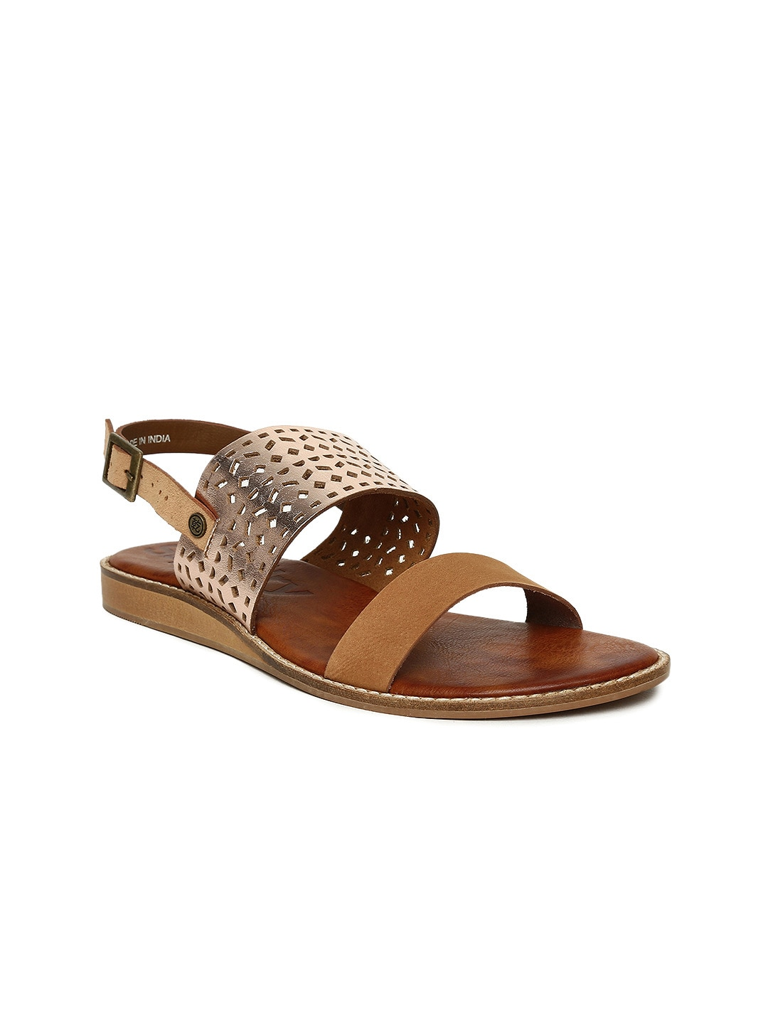 Superdry Women Brown & Rose Gold-Toned Colourblocked Flats image