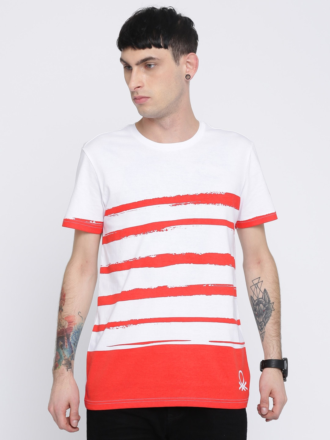 United Colors of Benetton Men White & Red Striped T-shirt image