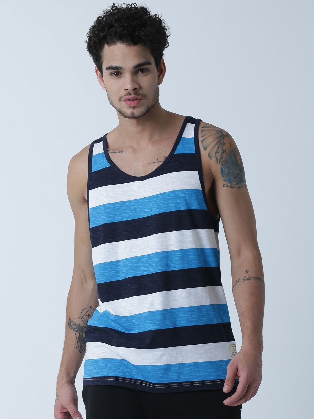 Masculino Latino White Striped T-shirt MLF4034-A image