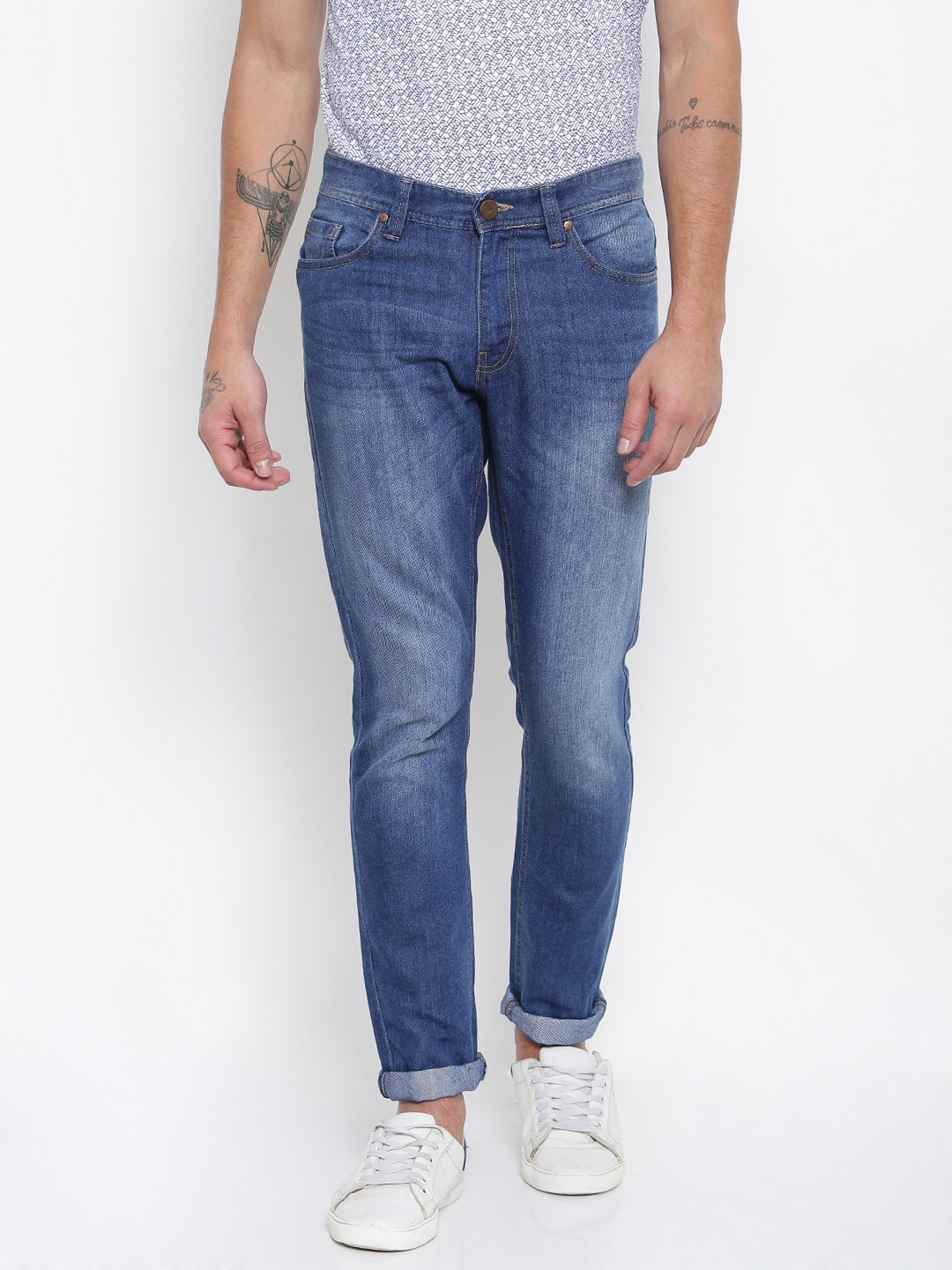John Miller Hangout Men Blue Tapered Fit Mid-Rise Clean Look Jeans image