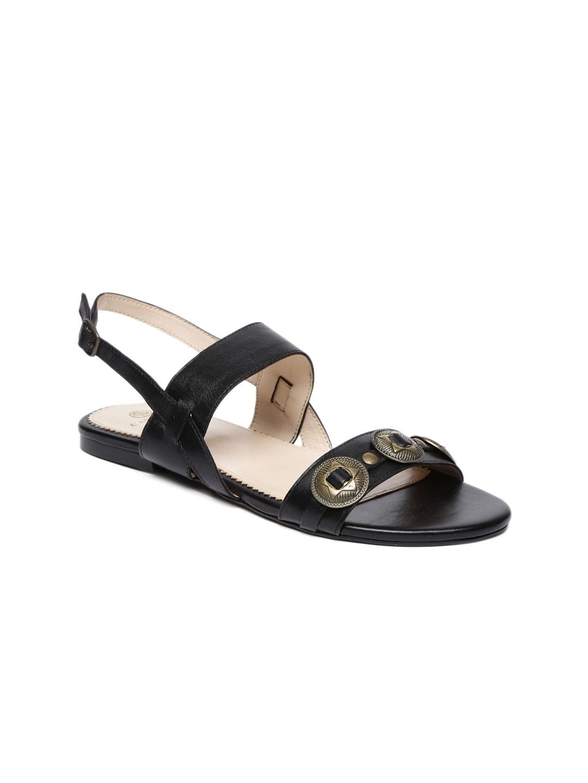 Carlton London Women Black Solid Leather Open Toe Flats image
