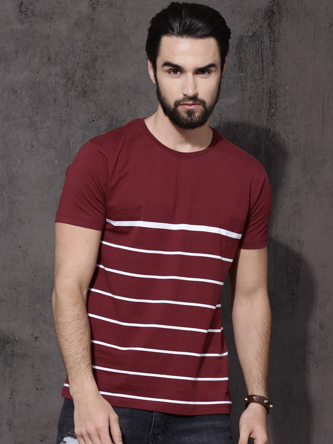 Buy Roadster Maroon & White Striped Round Neck Men's T-shirt At Best Price