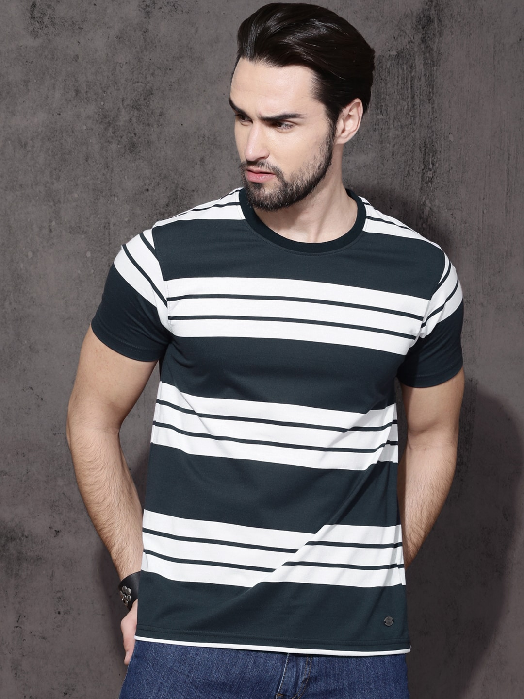 Buy Roadster White & Navy Blue Striped Round Neck Men's T-shirt At Best Price
