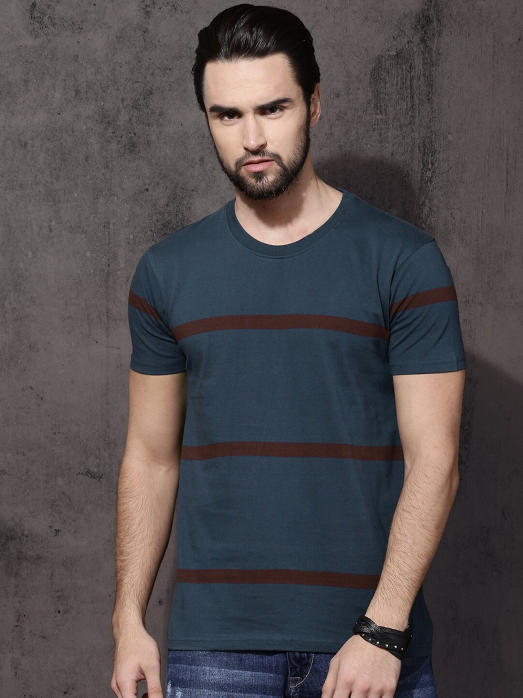 Buy Roadster Blue Striped Round Neck Men's T-shirt At Best Price